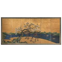 Japanese Screen, Flowering Cherry Tree with Raised Blossoms