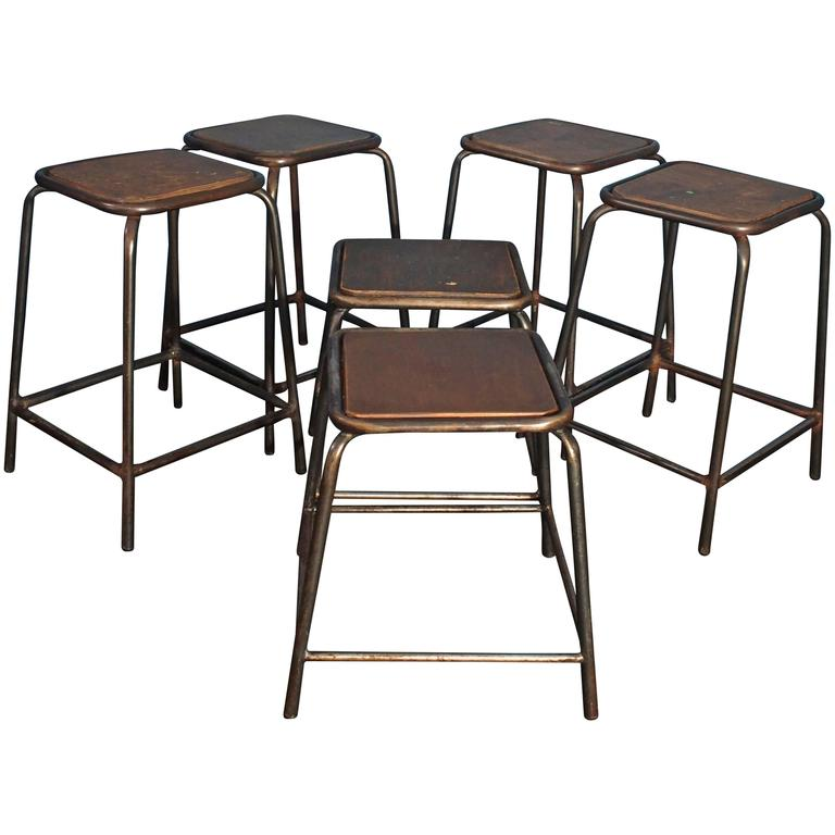 Heavy Tubular Steel Factory Stools Circa 1950 Set Of Six