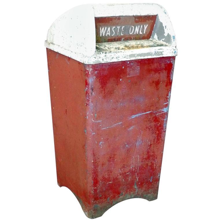 large moderne industrial cast aluminum waste basket or trash can for sale - Industrial Trash Cans