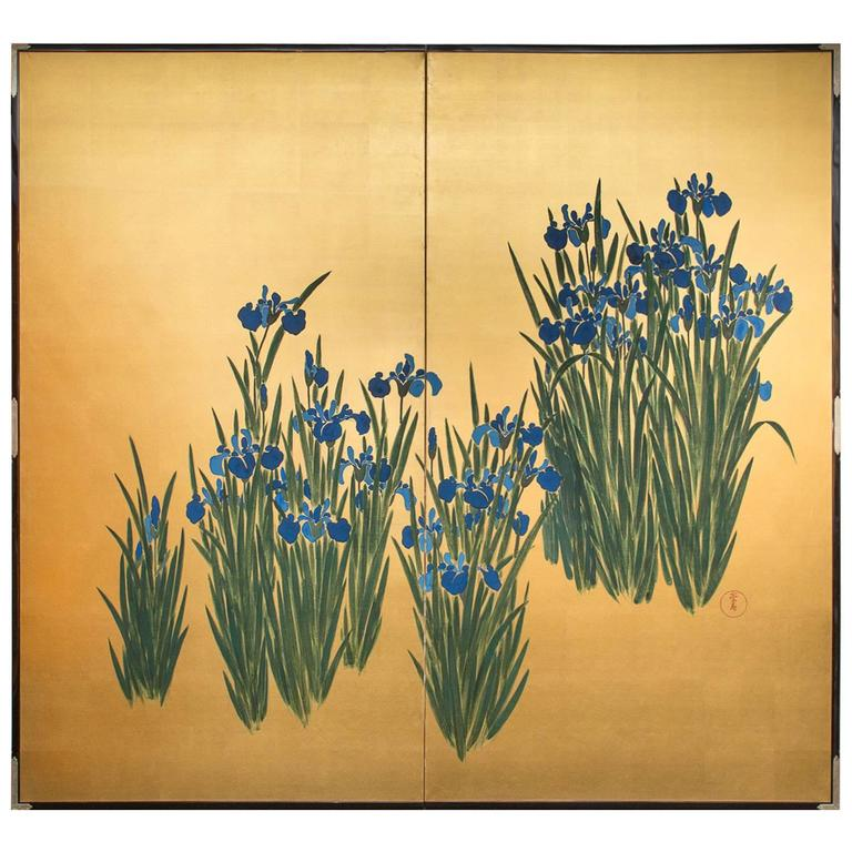 Japanese Screen, Irises on Gold