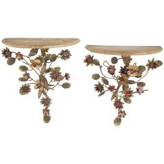 Vintage Tole Peinte Floral Wall Brackets from the Estate of Paul & Bunny Mellon
