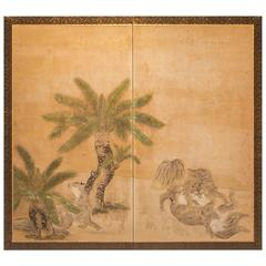 "Japanese Screen ""Romping Cats Under Sago Palms"""