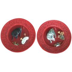 Pair of Cinnabar Lacquered Plates with Hardstone Mounts