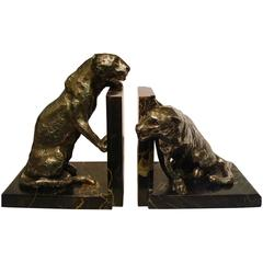 Art Deco Silver Plated Bronze Panthers Bookends by Roger Godchaux