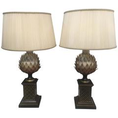 Pair of Painted Tole Artichoke Lamps