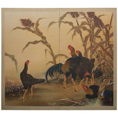 Japanese Two Panel Screen: Chickens in a Millet Grove