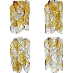 Four Italian Mazzega Murano Swirled Glass Sconces