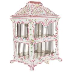 Vintage French Faience Bird Cage from the Estate of Paul & Bunny Mellon