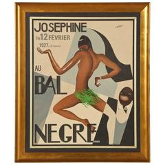 """French Lithograph Josephine Baker """"Au Bal Negre"""""""