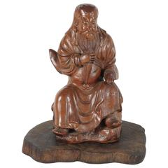 Late 19th Century Chinese Glazed Terracotta Seated Luohan Figure