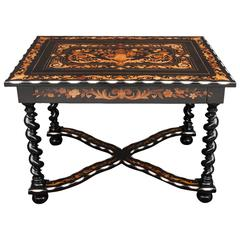 Late 19th Century Ebony Centre Table with Bone and Satinwood Inlay