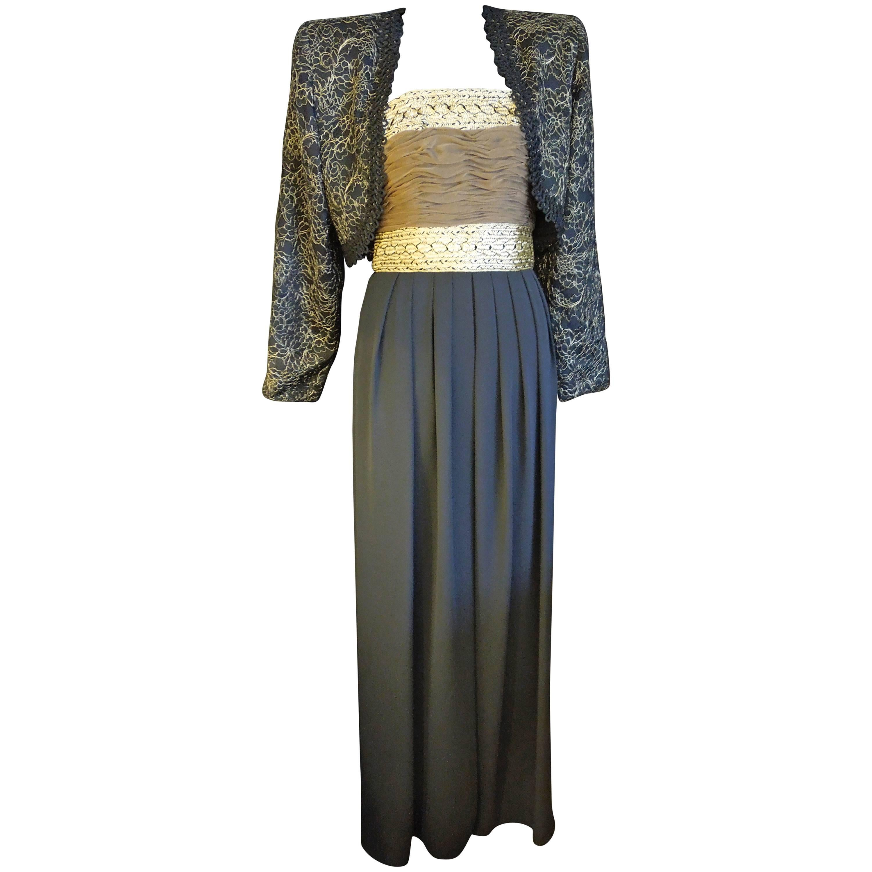 Liancarlo Gold and Black Chiffon Strapless Jumpsuit and Matching Jacket
