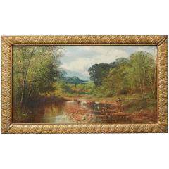 """""""Landscape with Stream,"""" Centennial-Era Pastoral Oil Painting by Wilson, 1876"""
