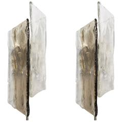 Pair of Kalmar 1960s Ice-Glass Wall Lamps, Sconces