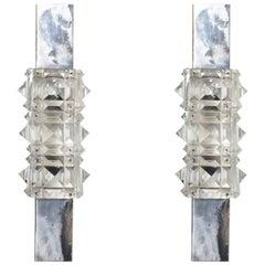 Pair of 1960s Kinkeldey Faceted Crystal Wall Lights