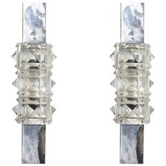 Pair of 1960s Kinkeldey Faceted Crystal Wall Lights