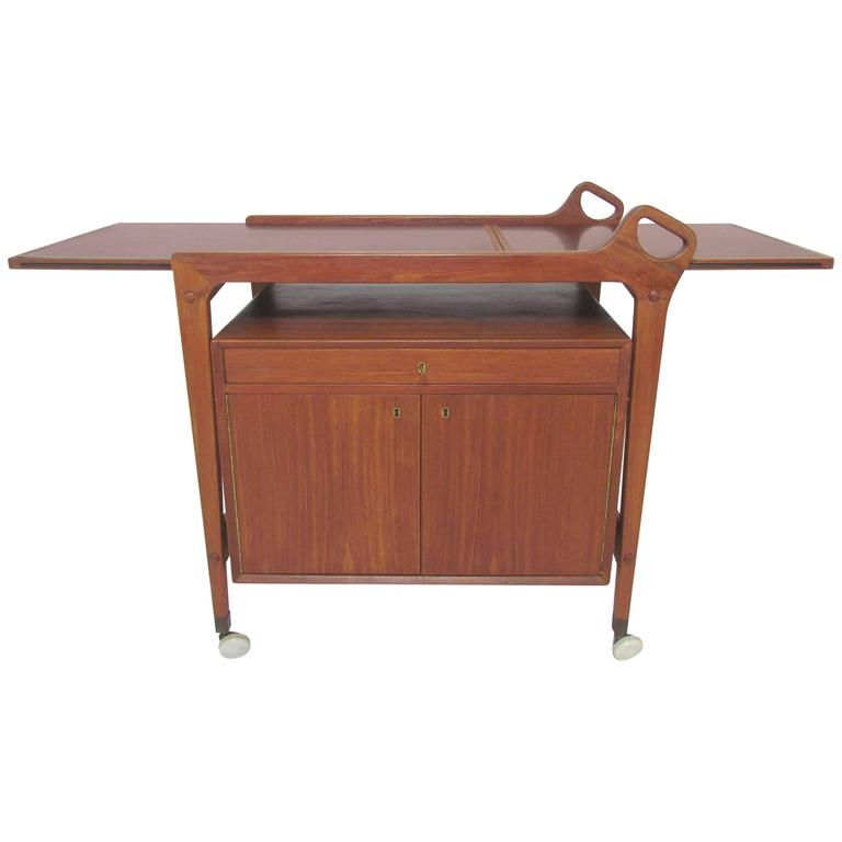 Danish teak dry bar and serving cart with locking storage for Home dry bar furniture