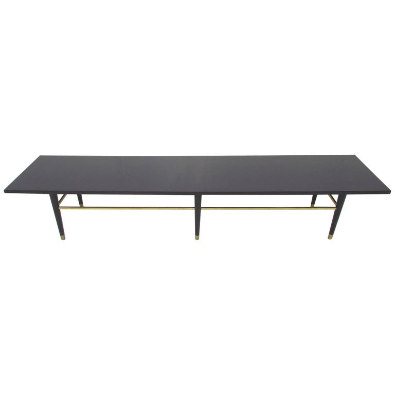 MidCentury Coffee Table with Brass Stretchers in Manner of Paul