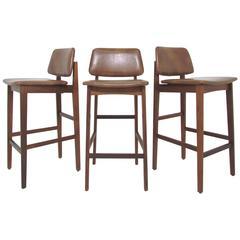 Set of Three Danish Modern Teak Bar Stools, circa 1960s