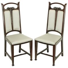 Pair of Art Nouveau Mahogany Side Chairs with Dove Grey Wool Upholstery
