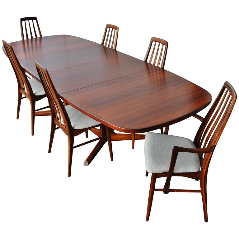 Impeccable Rosewood Moller Dining Table And Six Koefoeds Eva Chairs Danish A