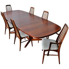 Impeccable Rosewood Moller Dining Table and Six Koefoeds Eva Chairs, Danish