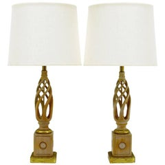 Pair of Frederick Cooper Carved and Limed Barley Twist Table Lamps