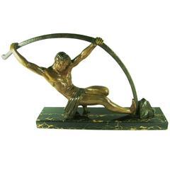 """D. H. Chiparus """"L'Age du Bronze"""" Bending Bar Man, Large size"""