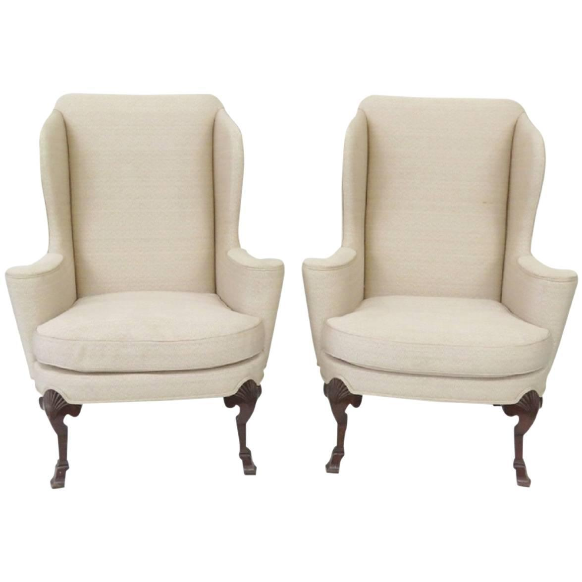 Pair of Baker Wing Chairs For Sale at 1stdibs
