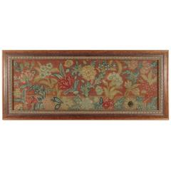 Antique, 18th Century or Earlier English Needlework Framed Floral Panel