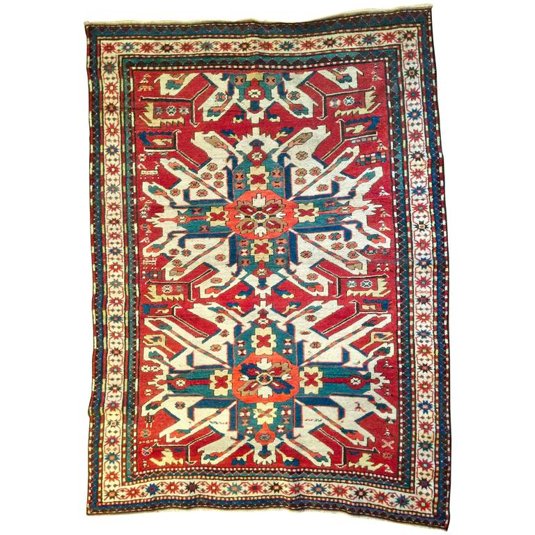 Late 19th Century Eagle Kazak Chelaberd Wool Rug Carpet