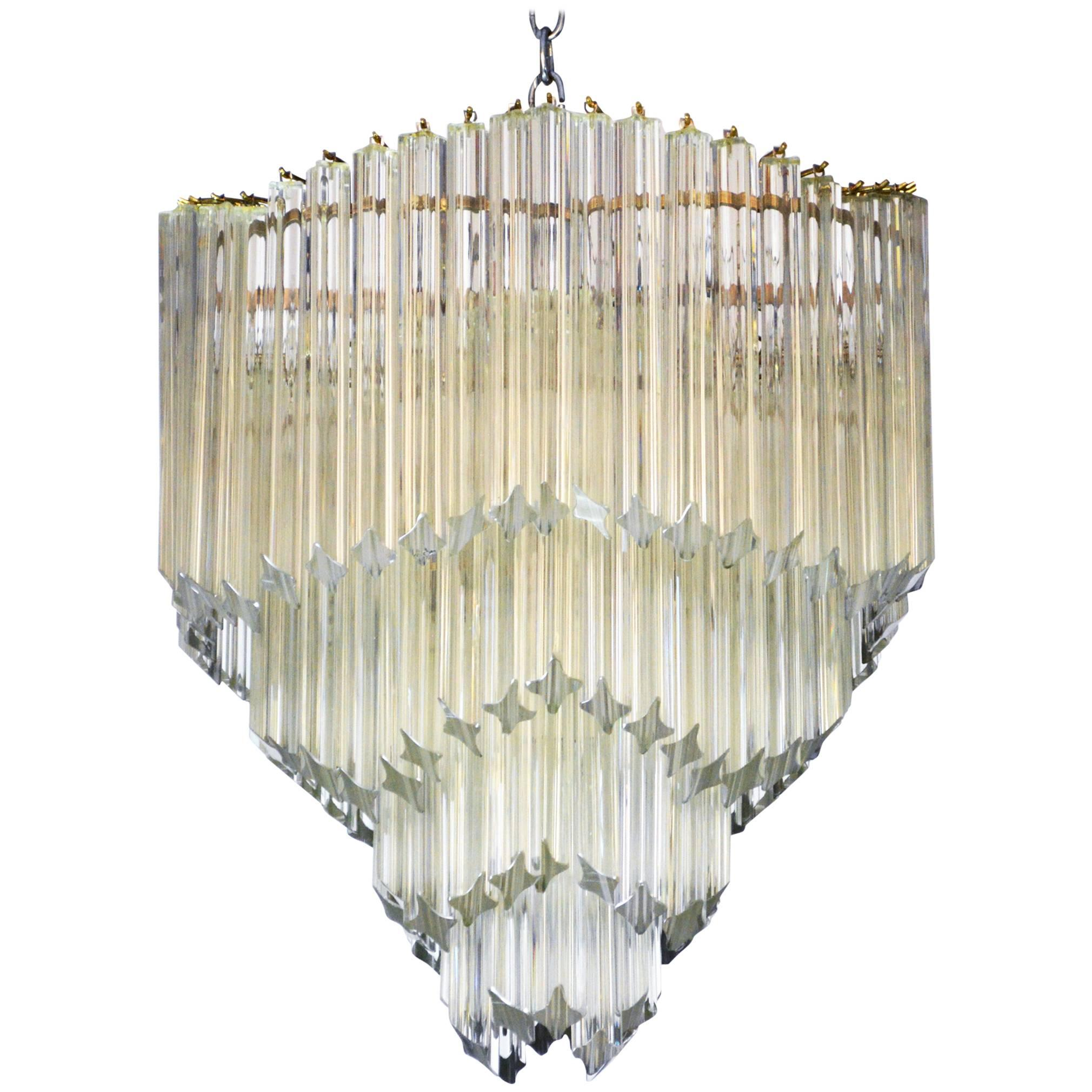 Vintage Chandelier Lighting with Crystal Glass Lamp Shades and Wooden Fittings. Mid Century Chandelier.