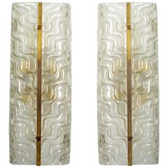 Pair of Large Textured Murano Glass Wall Sconces by Barovier