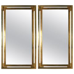 Pair of Italian Brass Mirrors