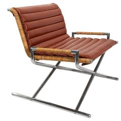 Wicker and Chrome Sled Lounge Chair by Ward Bennett