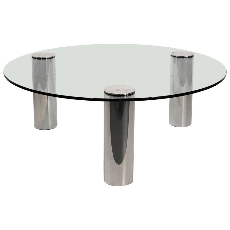 Nickel and Glass Cocktail Table by Pace Collection For Sale