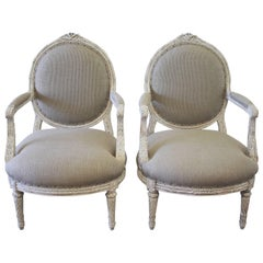 Louis XVI Style French Painted Armchairs in Nubby Linen