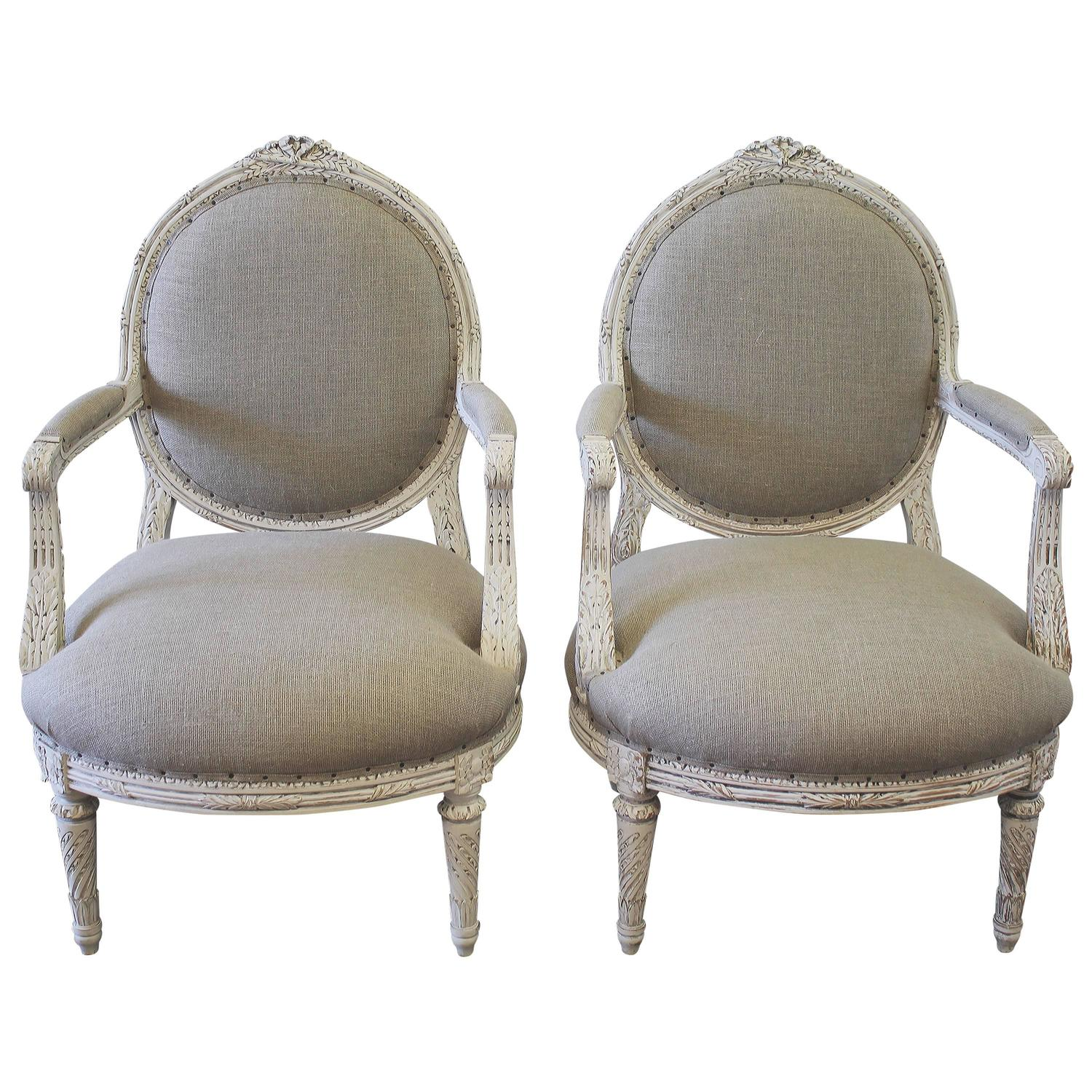 Louis XVI Style French Painted Armchairs In Nubby Linen For Sale At 1stdibs