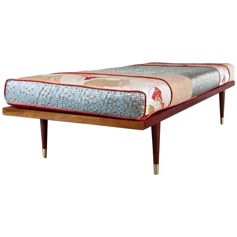 Vintage Daybed mid century inspired daybed with vintage obi for sale at 1stdibs