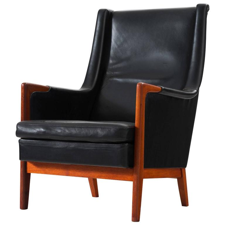 Karl Erik Ekselius High Back Chair In Black Leather And Teak For Sale At 1stdibs
