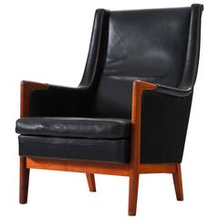 Karl-Erik Ekselius High Back Chair in Black Leather and Teak