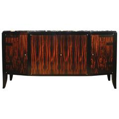 1925 - Art Deco French Sideboard, oak, Macassar ebony, Portor marble - France