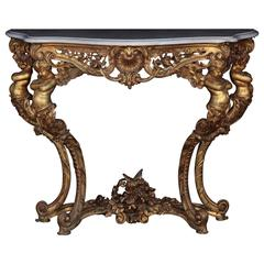Elegant Wall Console Table with Putti, 19th Century