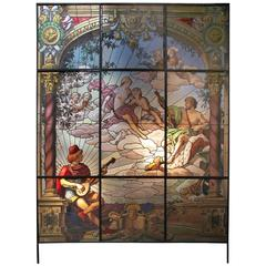 Monumental Troubadour Neo-Rococo Stained Glass Window, 19th Century