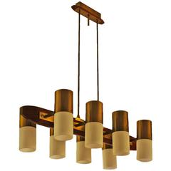 1960´s Chandelier 8 lights, solid teak, brass and plexiglass - Italy