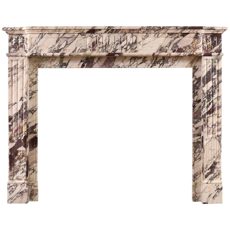 Fine Antique Breche Violette Marble Fireplace