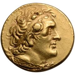Ancient Greek Gold Pentadrachm Coin of Ptolemy II, 274 BC