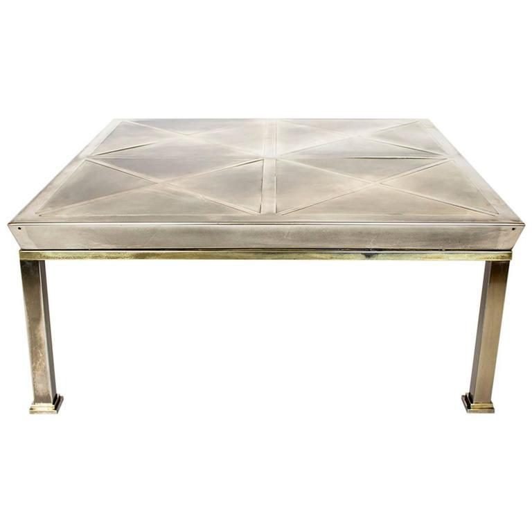 Mid-Century Modern Brushed Brass Coffee Table, Gabriella Crespi Geometric Style