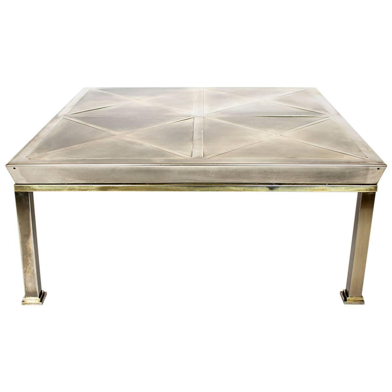 Mid-Century Modern Brushed Brass Coffee Table, Gabriella