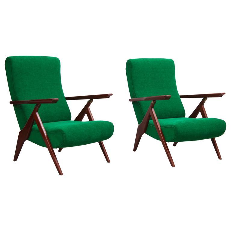 Rare Pair of Antonio Gorgone Reclining Lounge Chairs